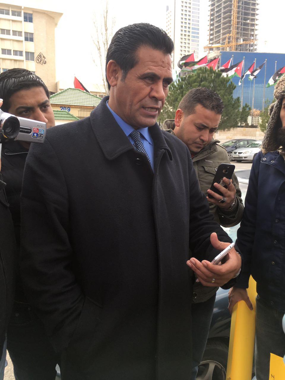 MP Suleiman Huwailah al-Zabn addressing activists. Photo by Nora B.