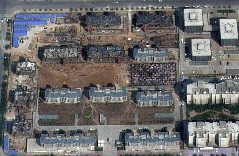 Screen shot from Google Earth's satellite image of a Chinese ghost city. Via China's state own Xinhua News July 2013.