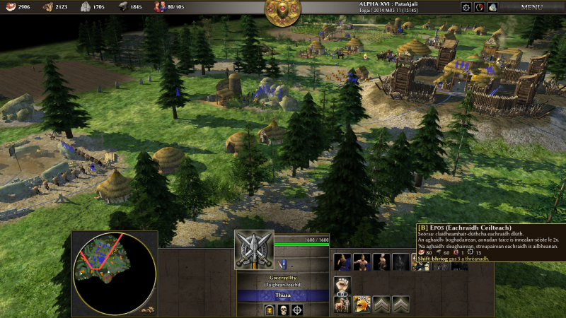 0 A.D. is a historical real-time strategy game, available in Scottish Gaelic.