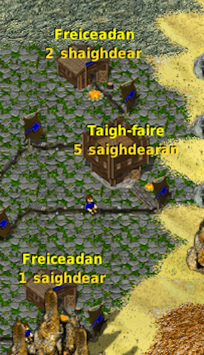 Counting soldiers in Widelands, in Gaelic.