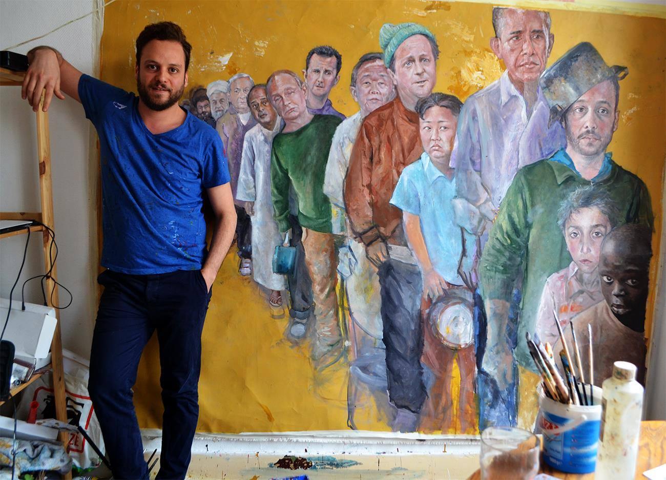 Un artista siriano ridisegna i potenti della terra come rifugiati vulnerabili