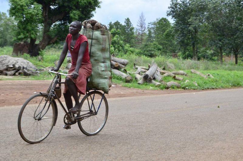Une femme transportant en bicyclette ses produits au marché près de Lira, dans le nord. Photo de Rachel Mabala. Utilisé avec la permission.