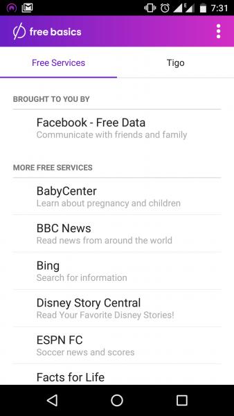 Écran principal de Free Basics au Ghana, via Tigo. Capture d'écran par Kofi Yeboah