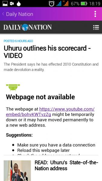 Les sites Web d'actualités suppriment des vidéos, y compris celles du Daily Nation au Kenya, représentées ici. Capture d'écran de Njeri Wangari.
