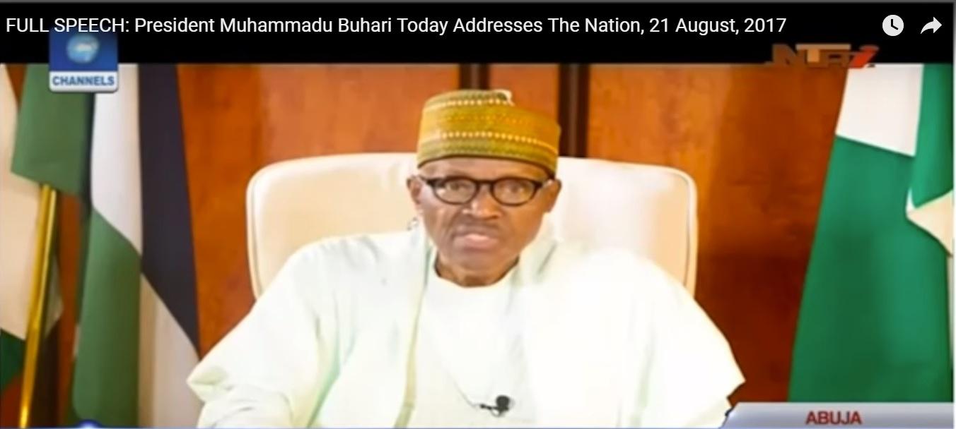 Capture d'écran du discours télévisé du président Buhari aux Nigérians le 21 août 2017.