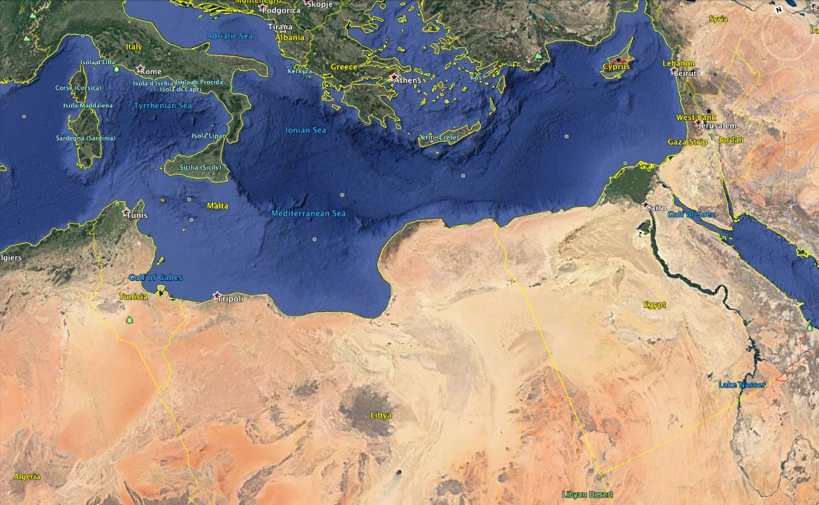 Capture d'écran montrant l'Italie (en haut à gauche), la Libye (centre) et l'Égypte (centre droit). Source: Google Earth