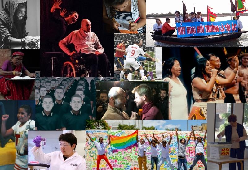 Un collage de photos de la couverture de Global Voices en 2017. Créé par L. Finch.