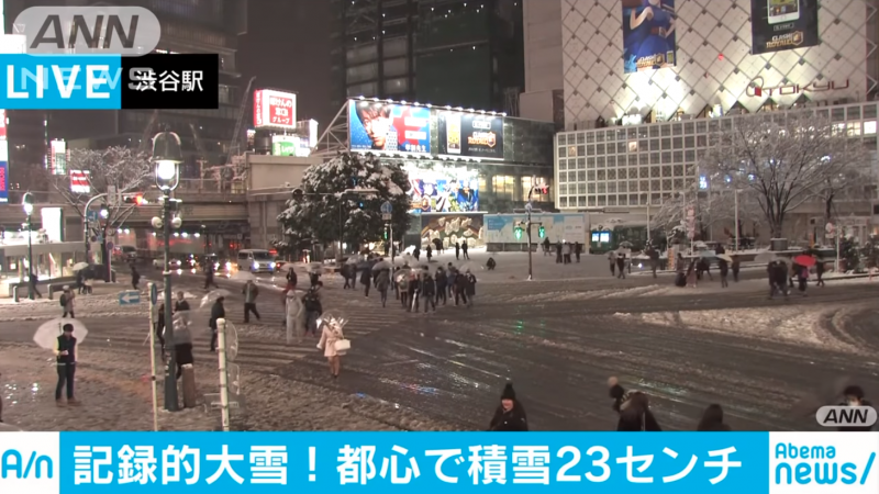 shibuya crossing snow