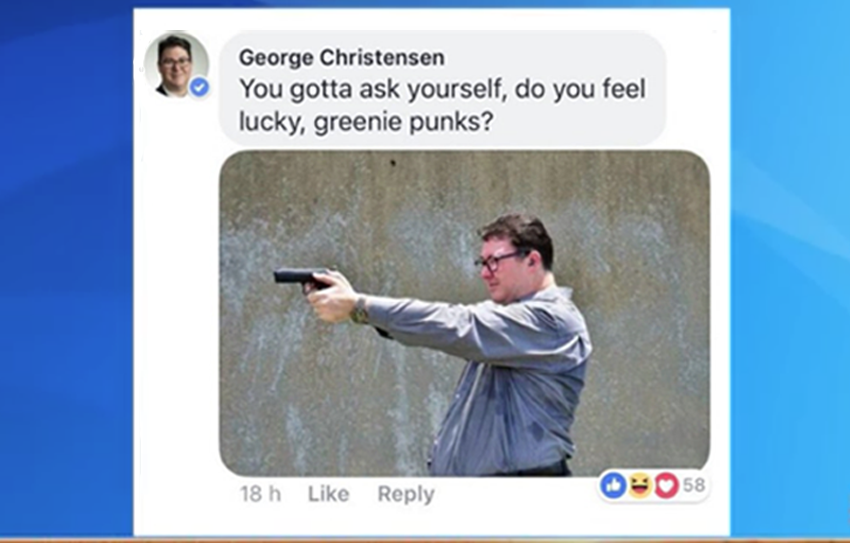 George Christensen posts gun threat to 'greenie punks'