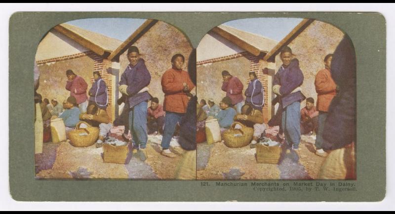 Manchurian Merchants on Market Day in Dalny