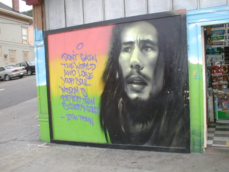 A mural of reggae icon Bob Marley; photo by Vanessa, CC BY-NC-ND 2.0
