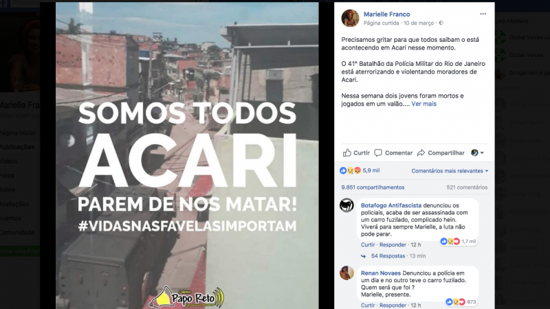 Marielle last Facebook post was about the ongoing police violence in Acari favela. Photo: Screenshot/Facebook