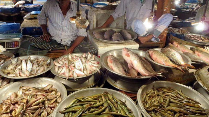CC By 2.0عرض الأسماك في سوق للسمك في مدينة سيلهت.الصورة من فليكر بواسطة ديفيد ستانلي