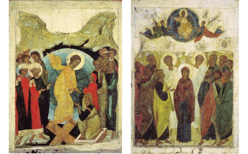 Didascalia: Due opere con la tematica della Pasqua di Andrei Rublev e Daniil: Il Tormento dell'Inferno e L'Ascensione (1408-1410), conservate nella Galleria di Stato Tretyakov a Mosca. Fotogafie di Pubblico Dominio via Wikipedia.