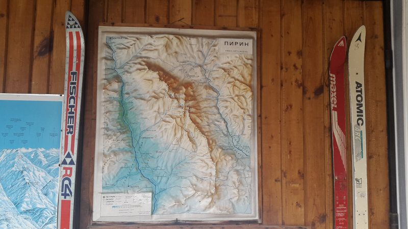 Map, Pirin National Park, Pirin, Bulgaria, raised-relief map, wall, skis