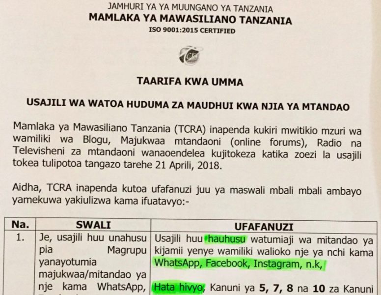 Leading independent websites go dark as Tanzania's 'blogger