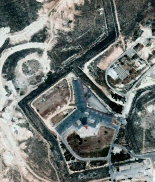 satellite image shows Saydnaya military prison. Source: Google Earth.