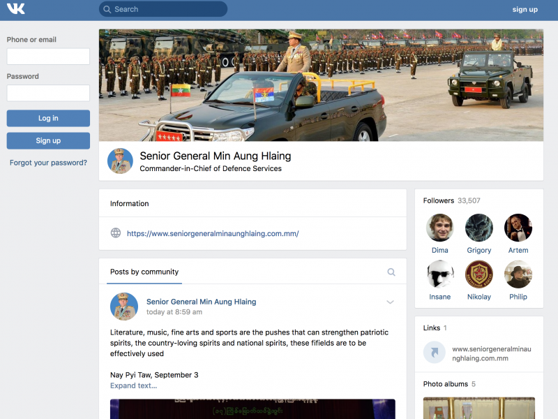 After Facebook ban, Myanmar military accounts are moving to Russian