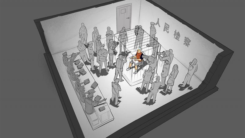 Рисунок вынужденного исповедания Питера Хамфри. Иллюстрированный Алексеем Гармашем через бесплатную пресс-конференцию в Гонконге.