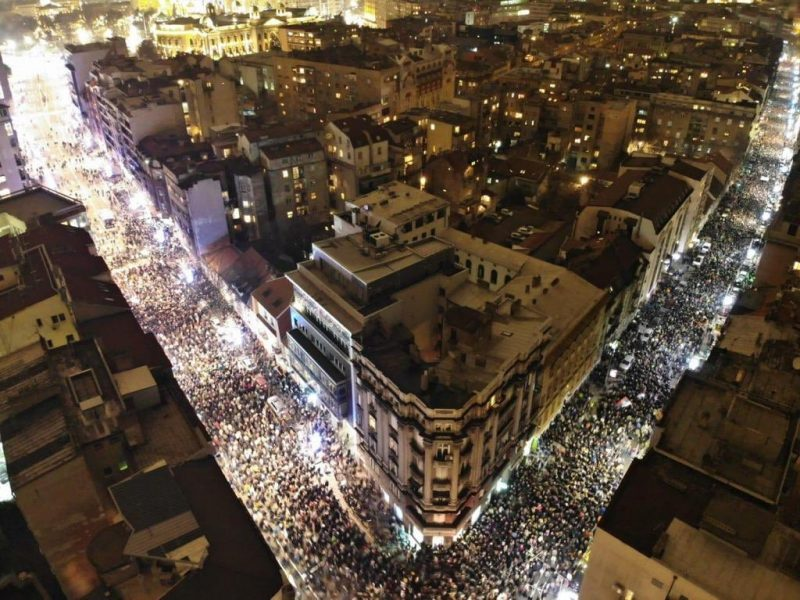 One in five million protest in Belgrade, Serbia, view from above.