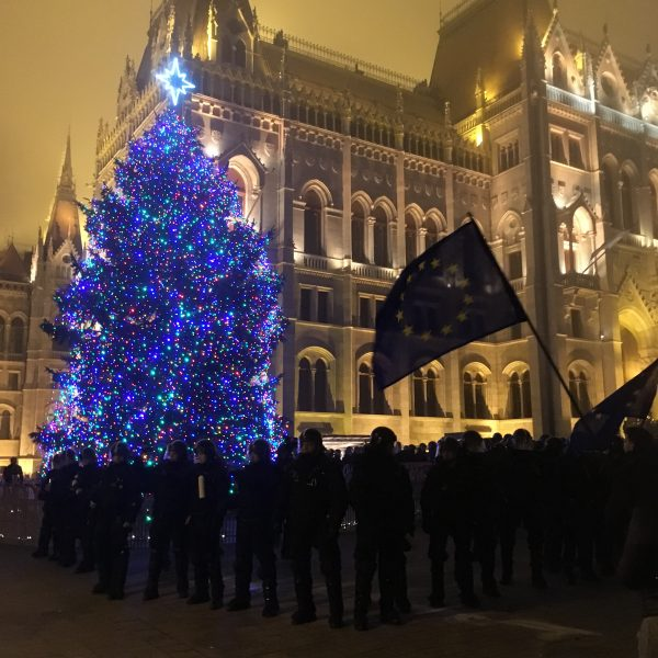 Christmas tree at the Parliament square