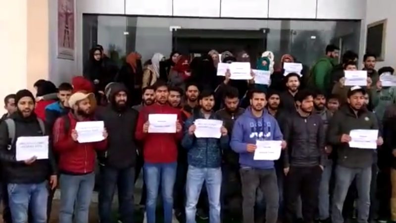 Students protests in Sopore, Srinagar against attacks on Kashmiris outside valley