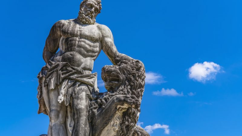A statue of the Greek God Hercules.