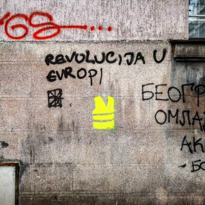 Yellow vest in Belgrade, Serbia, December 2018. Picture made by Pernille Bærendtsen, with her courtesy