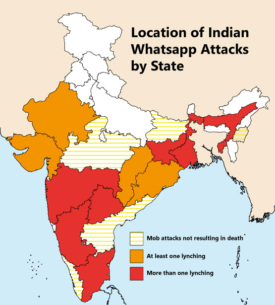 Mapping reports of Whatsapp instigated lynchings in India till July 2018.