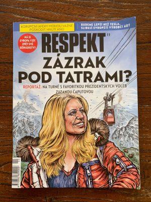 """Okładka czeskiego czasopisma Respekt, anonsująca artykuł o Zuzanie Čaputovej pt. """"Cud pod Tatrami"""". Na prawie dozwolonego użytku."""