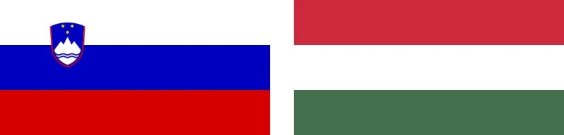 Juxtaposed national flags of Slovenia and Hungary.