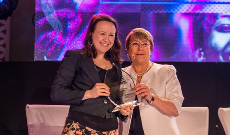 UN High Commissioner Michelle Bachelet presents Huma Rights Hero Award to Lizzie O'Shea