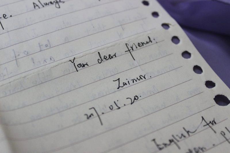 Lettre écrite par Zainur Turdi à l'auteure.