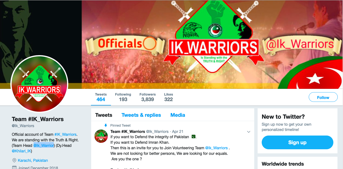 562a640d416f3 The recent campaign was launched on Twitter by the pro-government account  @Ik_Warriors. Screenshot taken on July 8 at 10:31 CEST.