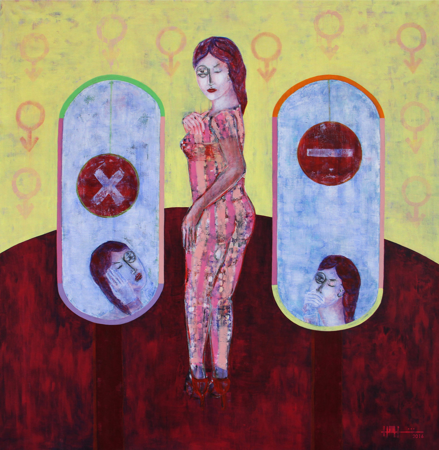 Rashwan Abdelbaki. Title: Women. Acrylic on Canvas. 150 x 150 cm. 2016.
