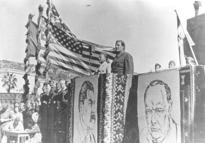 Tito, American Flag, Stalin, Churchill