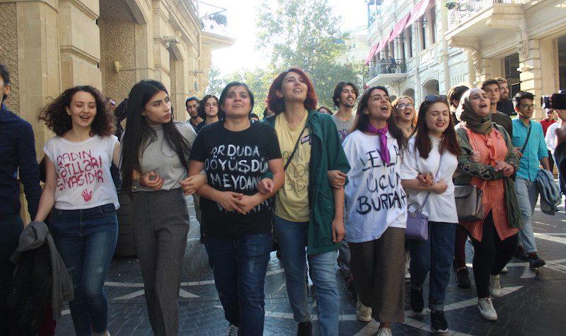 Mulheres protestam contra abuso doméstico no centro de Baku, Azerbaijão. Foto:Najaf Ruslanoglu, utilizada com autorização.