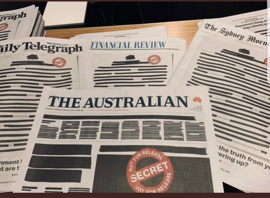 Redacted front pages for Your Right to Know campaign