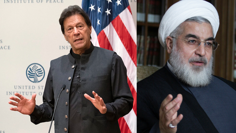 Pakistan President Imran Khan and the President of Iran Hassan Rouhani. Collage