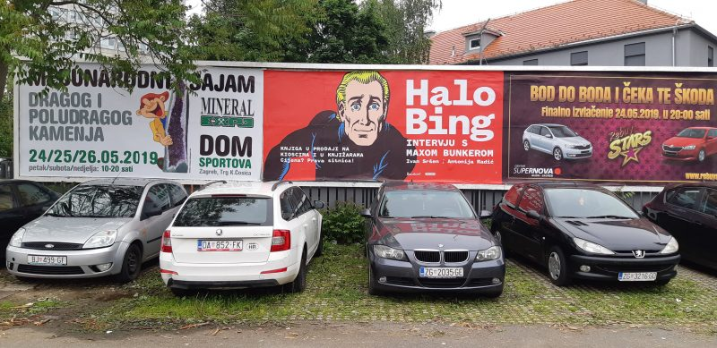 "Billboard in Zagreb, Croatia, advertising the book ""Halo Bing"" dedicated to the 50th anniversary of the cult comics Alan Ford. Photo by Meta.mk News Agency, CC BY."