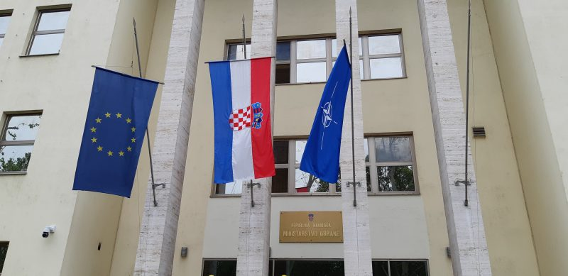 Flags of European Union, Croatia and NATO waving in front of the Ministry of Defense of Republic of Croatia, Zagreb,