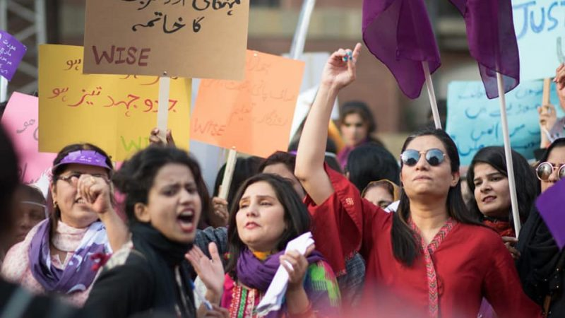 On March 8, 2019, International Women's Day, women took to the streets in all four provinces of Pakistan to protest against patriarchy. Image by Shaheena Kausar via Aurat March Lahore. Used with permission.