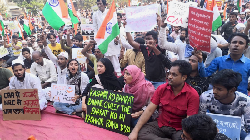 Protests against the Citizenship Amendment Act (CAA) and the National Register of Citizens (NRC) in Mumbai. 19 December, 2019. Image by author.