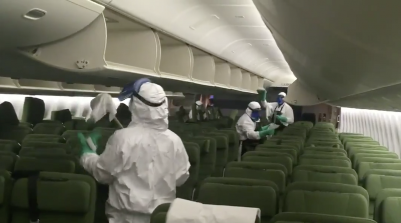 QANTAS staff disinfect aircraft used for coronavirus evacuation mission from Wuhan