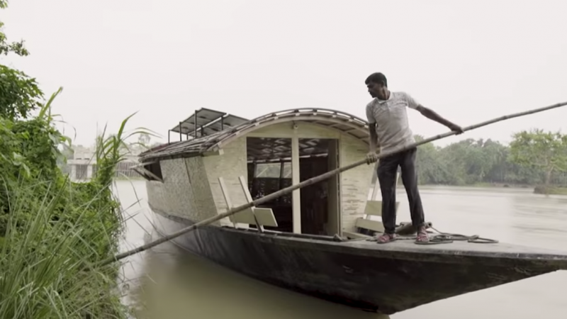 A Shidhulai Swanirvar Sangstha floating school boat. Screenshot from YouTube video by Great Big Story.