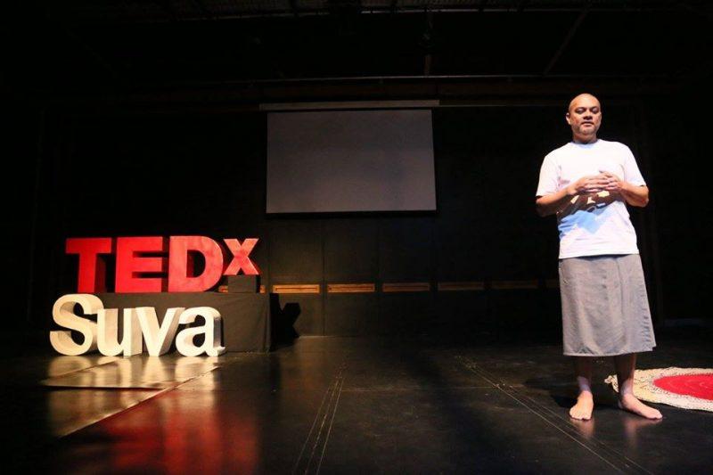 Peter Sipeli during a TEDx talk in Suva, Fiji. Source: Facebook