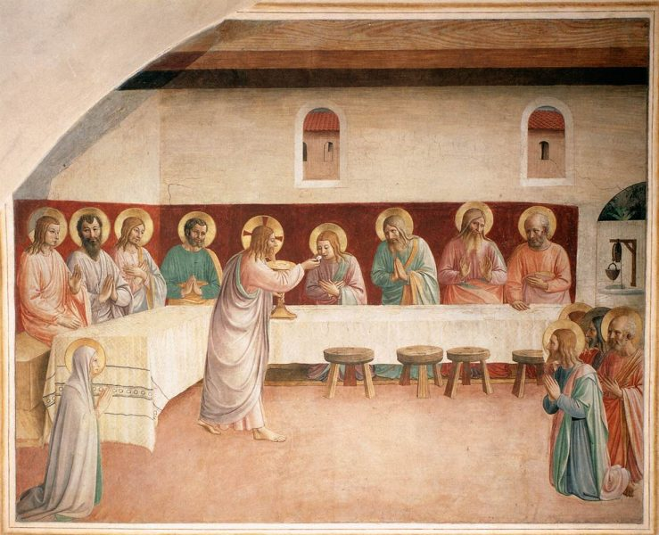 """Institution of the Eucharist,"" a 1442 painting by Fra Angelico. Public Domain <a href=""https://commons.wikimedia.org/wiki/File:Fra_Angelico_-_Institution_of_the_Eucharist_(Cell_35)_-_WGA00549.jpg"">photo</a> via Wikipedia."
