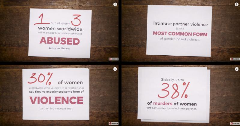 Une série de quatre vignettes mettant en avant les statistiques alarmantes sur les violences subies par les femmes dans le cadre de leurs relations intimes.