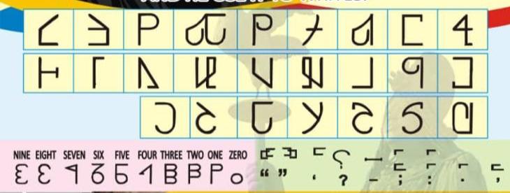 Les lettres, chiffres et marques de ponctuation du nouvel alphabte sont présentées sous forme de tableau.