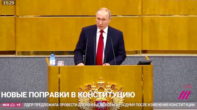 Poutine prononçant un discours à la Douma d'État
